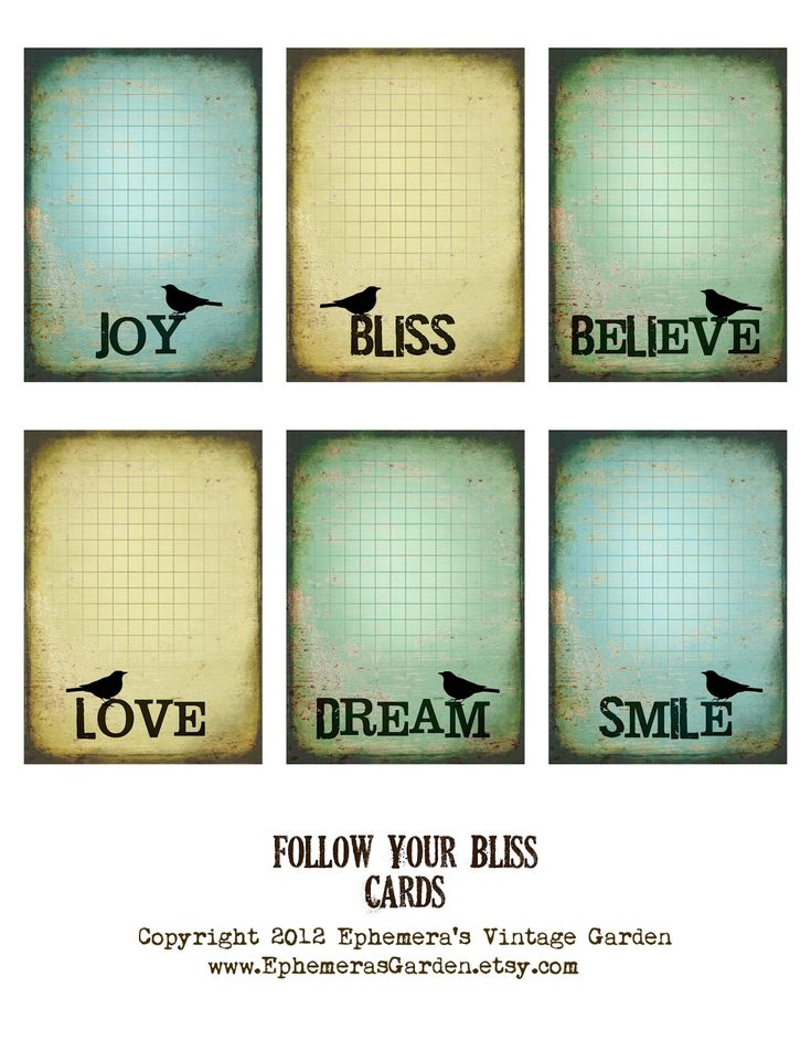 Free Follow Your Bliss Tags/Cards from  Ephemera's Vintage Garden
