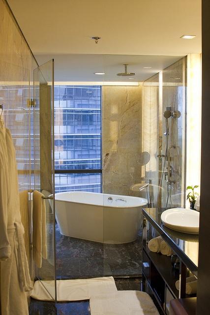 Bathtub in shower, not the other way around