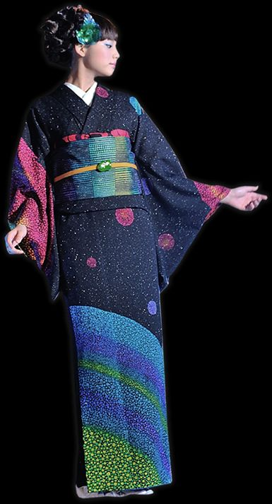 Aonokoubou kimono fashion.  Japan.