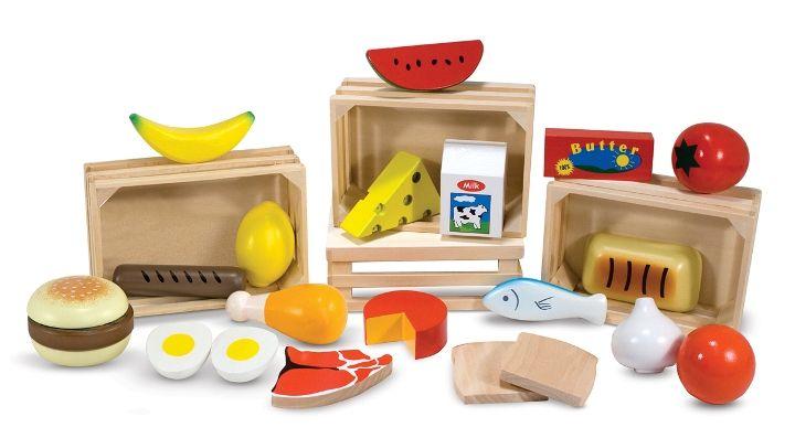 Melissa & Doug Ahşap Gıdalarımız 4 ahşap kutu içerisinde sınıflandırılmış temel gıdalarımız, tamamı 21 parça. Süt ve süt ürünleri, ekmek çeşitleri, meyveler ve sebzeler, et ve et ürünleri. Hem öğreticidir, hem de evcilikleri eğlenceli kılar. #ahşapoyuncak #gıdalarımız #oyuncak #evcilikoyuncakları