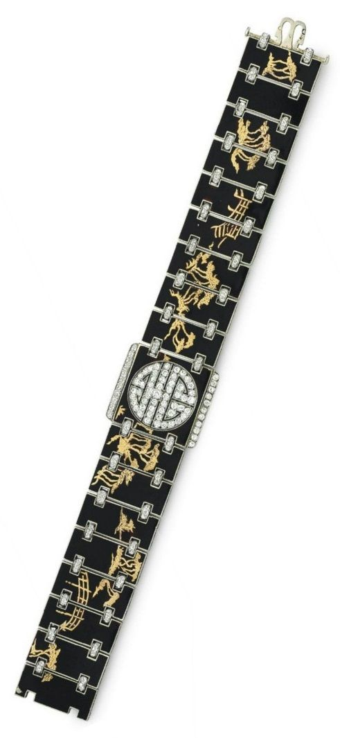 VERGER FRÈRES: AN ART DECO ENAMEL AND DIAMOND CHINOISERIE BRACELET, CIRCA 1920. Designed as an articulated black enamel band, each panel accented by gold images of Chinoiserie motif, joined by rose-cut diamond links, centring upon a reversible pierced single-cut diamond plaque, the reverse red enamel band with similarly designed panels accented by gold images of floral motif, with French assay marks for platinum and 18k gold, maker's mark for Verger Frères, numbered. #Verger #ArtDeco…