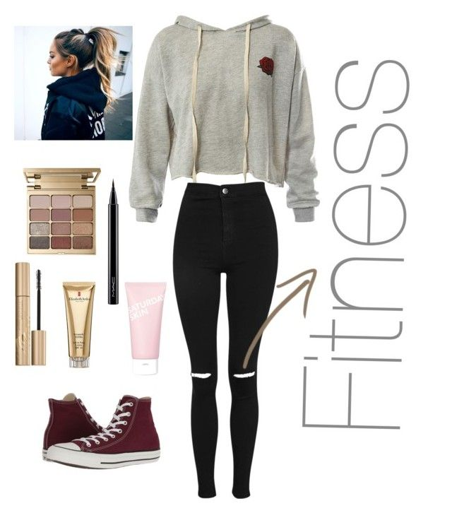 """""""Time to exercise"""" by pusheencute on Polyvore featuring Sans Souci, Topshop, Converse, Stila, MAC Cosmetics, Elizabeth Arden and Saturday Skin"""