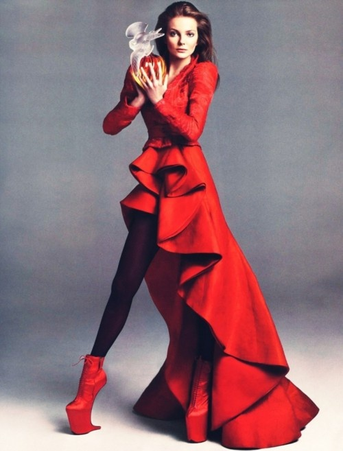 Beautiful Red Couture Dress Sky High Shoes Fashion Editorial All Wild In 2018 Vogue Paris