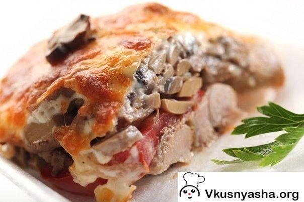 Мясо по-купечески с грибами - Вкусняша