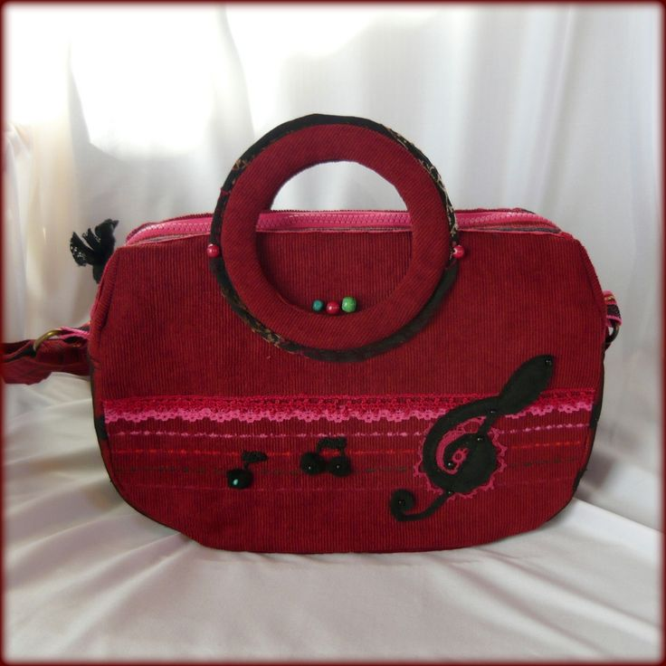 Handmade by Judy Majoros - Red corduroy music bag. Black polka dots tulle. Felt Notes- violin key applique. Crossbody bag. Recycled bag. Beaded-crochet
