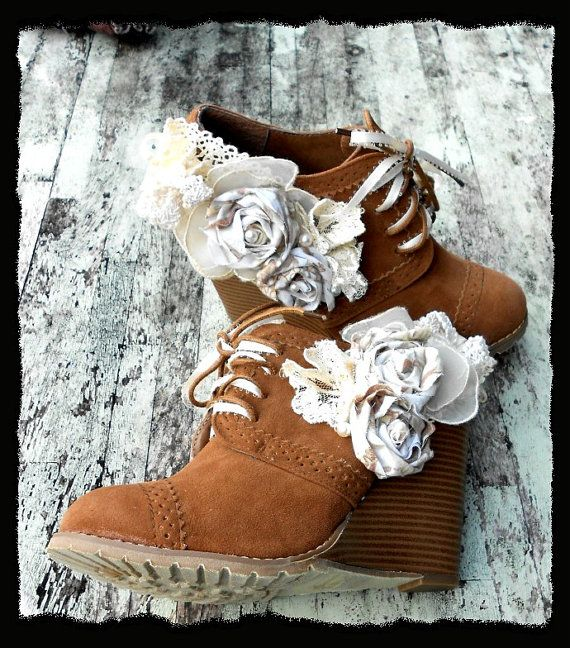 Romantic Embellished Wedge Shoes.  Cute idea. Looks easy to mimic. It's not my favorite shoe but it's a great idea :)
