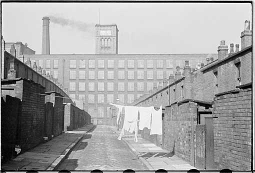 Humphrey Spendor - Park Mill seen behind back to back houses, Bolton