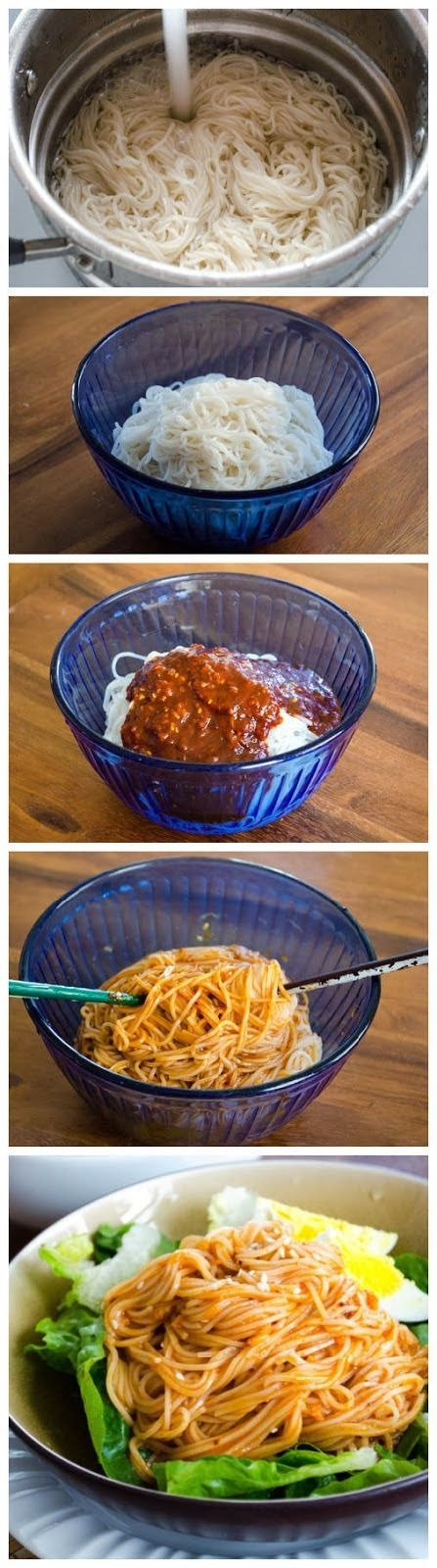 Bibimguksu Noodle Recipe - A delicious Korean noodle recipe - International Recipes