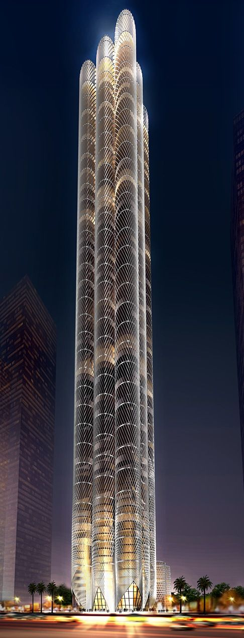 Al Sharq Tower, Dubai, UAE by Skidmore, Owiings & Merrill (SOM) Architects :: 100 floors, height 368m :: proposal