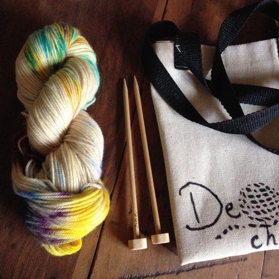 Hand dyed knitting kit by deorigenchile on Etsy