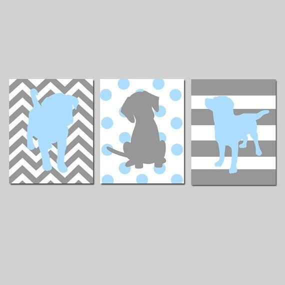 Puppy Dog Nursery Art Trio Set of Three 8x10 Prints by Tessyla