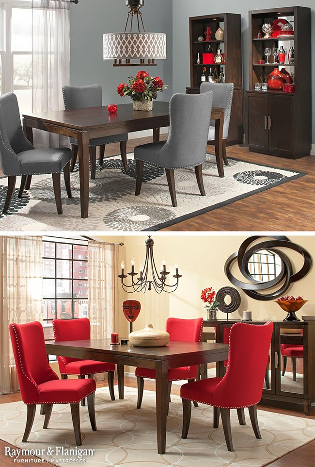 This Dining Set Is Sure To Make A Modern Statement In Your Home With Its Upholstered Chairs Nailhead Trim And Mirrored Glass On The Server