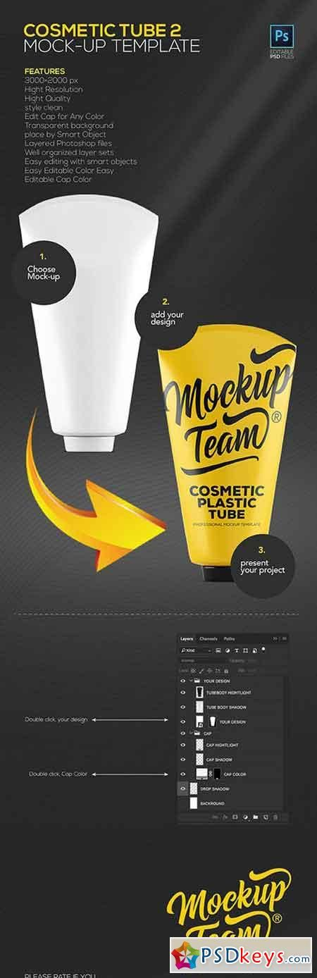 Cosmetic Tube 2 Mock-up Template 911455