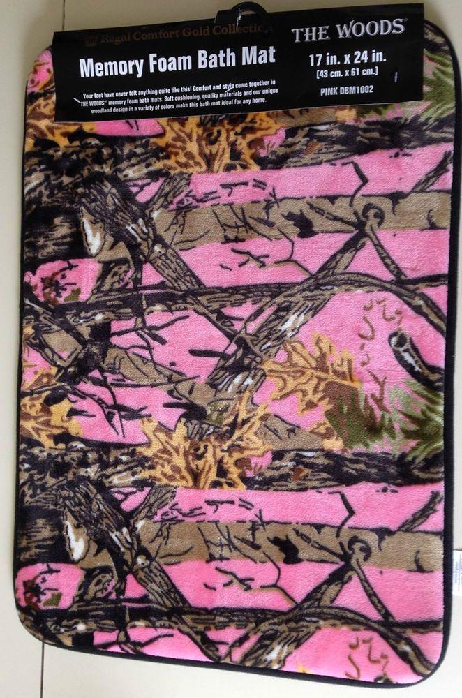 Pink Camo Memory Foam Bath Mat