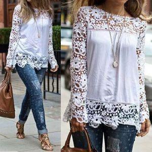 2015 mujeres del otoño de manga larga de encaje de gasa T-shirt Tops Casual blusas envío gratis blanco