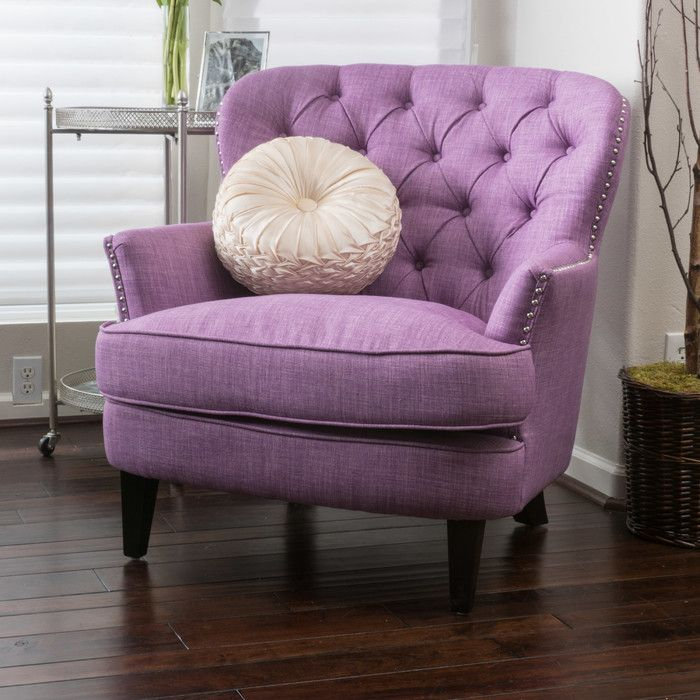 Features:  -Versatile design will complement any decor.  -Construction Material: Birchwood, plywood, foam, and linen.  -Espresso stained legs.  -Tufted back.  -Bronze nailhead trim.  Frame Finish: -Es