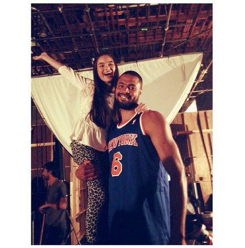 Pic: Landry Bender With New York Knicks Star Tyson Chandler