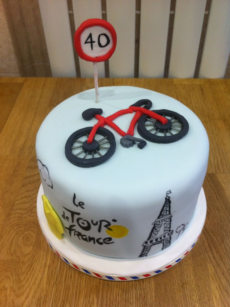 bike cake for 40th birthday keen cycllist, handpainted tour de france logo
