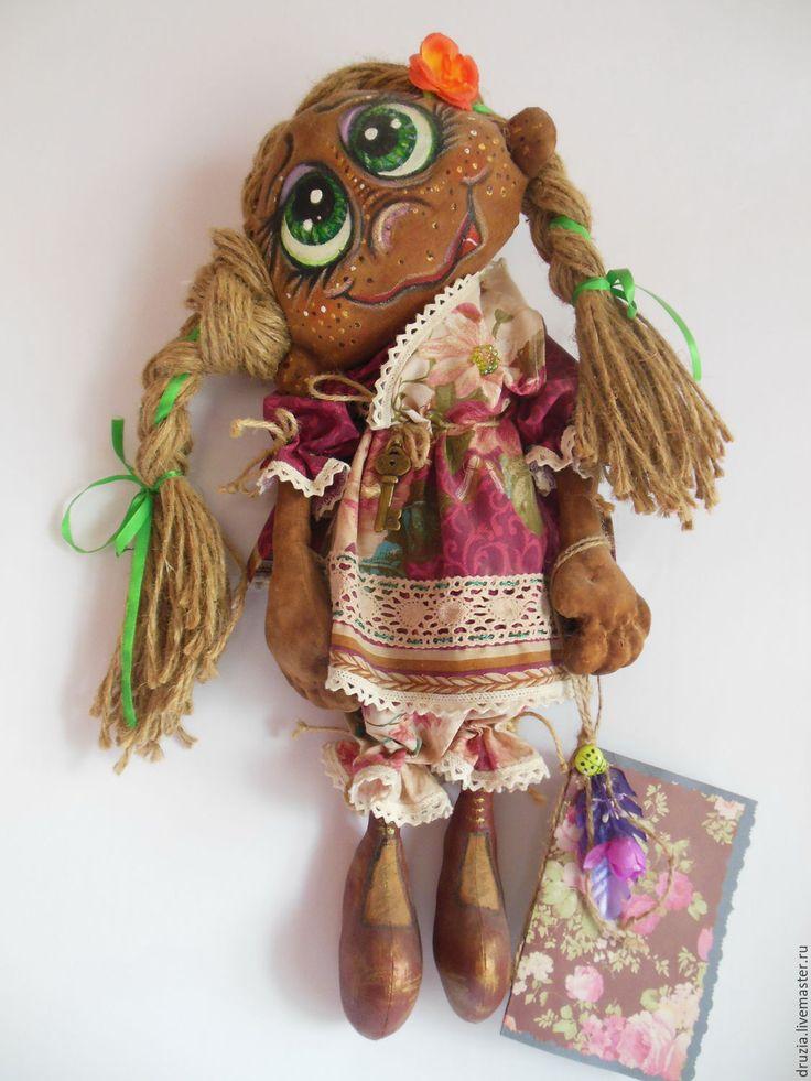 Купить Домовушка-Желанница Малуша - комбинированный, кофейная игрушка, грунтованный текстиль, кукла интерьерная