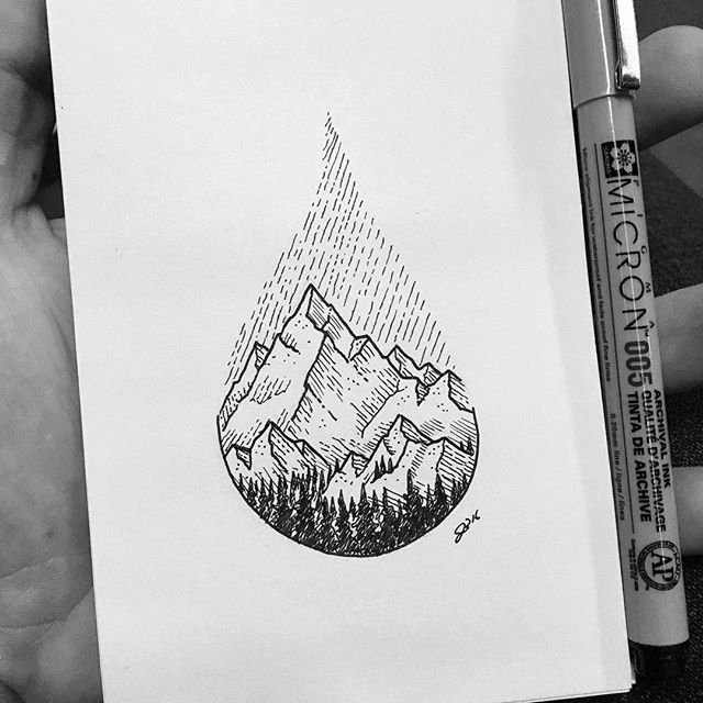 Little sketch on the bus. # #✍ #sketch #sketchbook #drawing #art #instaart #micron #pen #ink #doodling #bw #iblackwork #detail #texture #outdoors #mountains #pnw #northwest #wilderness #rain #landscape #forest #nature #doodle #water