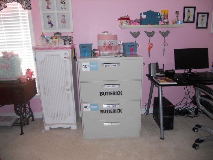 vintage Butterick pattern cabinet