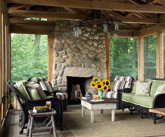rustic outdoor living room for hom | 136 best images about Rustic Home Accents on Pinterest