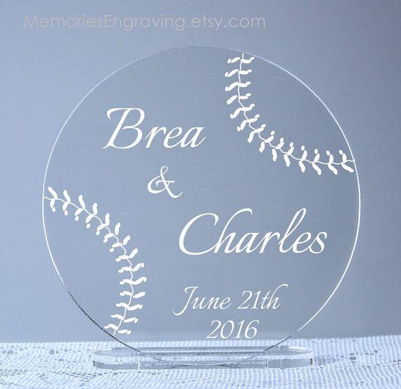 Baseball Wedding Cake Topper by MemoriesEngraving on Etsy