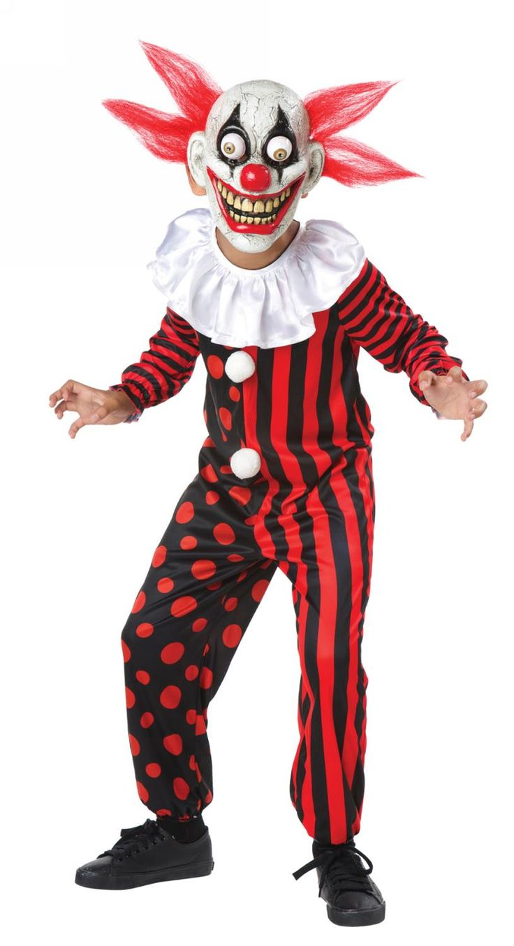 Krampus costume for sale - Googly Eye Creepy Clown Halloween Costume Child Medium