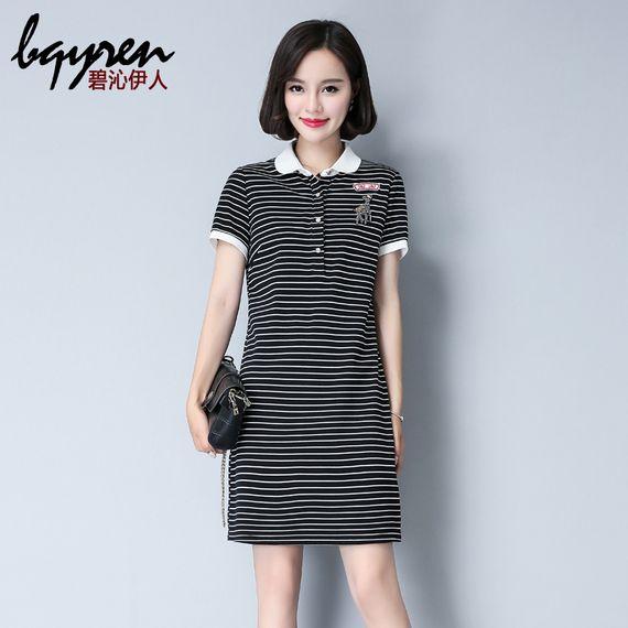 인형 칼라 시프트 드레스 여자 칼라 T 셔츠 드레스 여름 2017 새로운 짧은 소매 스트라이프 니트 드레스의 긴 섹션