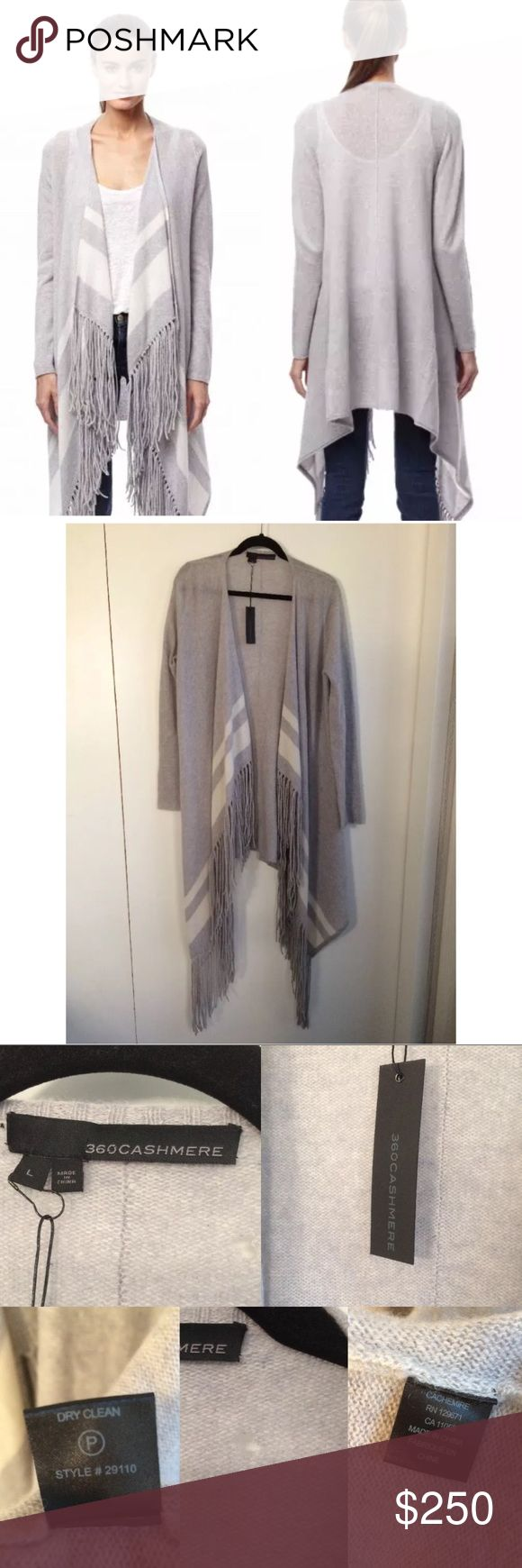 $460 360 Cashmere Eloise Waterfall Cardigan Size L $460 360 Cashmere Eloise Waterfall Cardigan  It's new with tag but has a hole near the tag, see photos   360 cashmere Eloise grey/cream waterfall cardigan.  This is the 'Eloise' Long waterfall cardigan by american designer 360 cashmere. This features bold stripes, fringe trimming and an open-front.   Model is wearing a size Large  Fabric: 100% cashmere Dry clean/specialist cleaner. 360 Cashmere Sweaters Cardigans