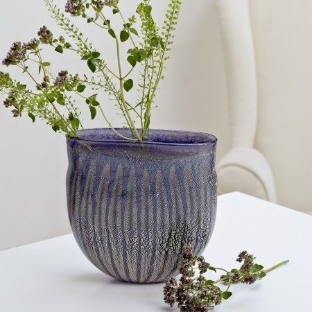 Grand Flute Vase containing real silver leaf. A stunning vase to be used or just to be admired!