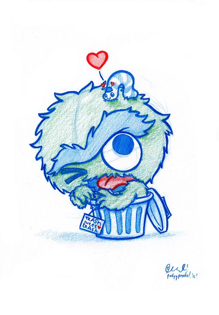 Blue Doodle #42: Oscar the grouch and Slimey! | Flickr: Intercambio de fotos