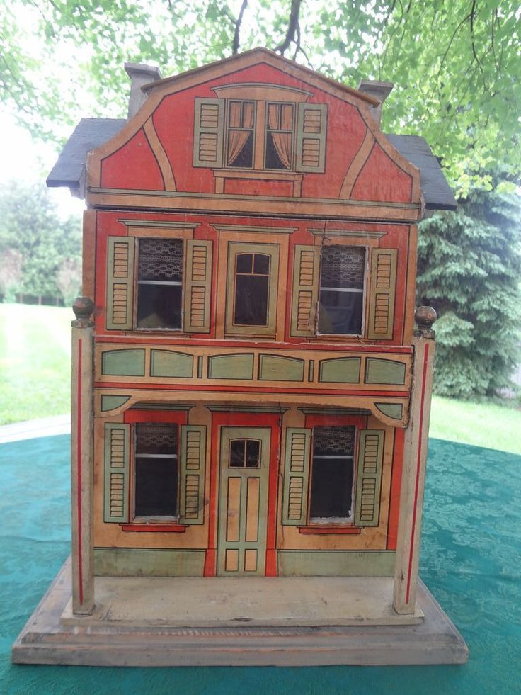 Gottschalk Blue Roof Doll House Two Room German, good design and nice colors.  .....Rick Maccione-Dollhouse Builder www.dollhousemansions.com