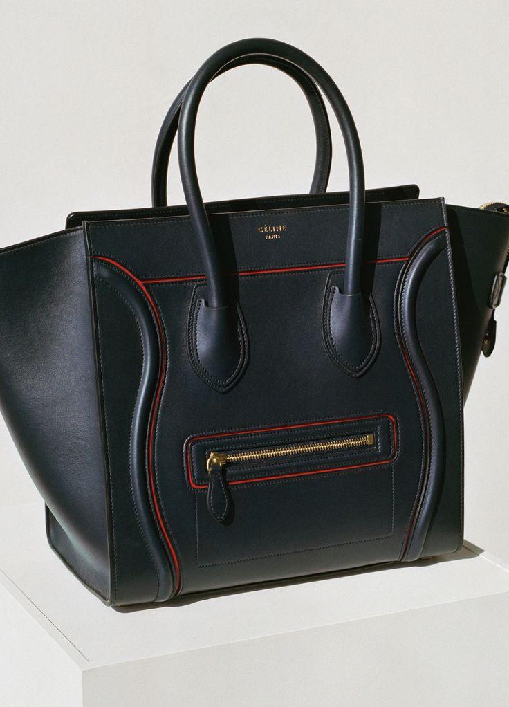 celine purses on sale - Celine - MINI LUGGAGE HANDBAG WITH INTERSTICE IN NAVY BLUE SMOOTH ...