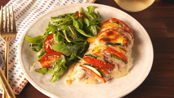 Primavera Stuffed Chicken- I would sub in Mild banana peppers for the yellow peppers, and maybe add a little sliver of cream cheese with the veggies!