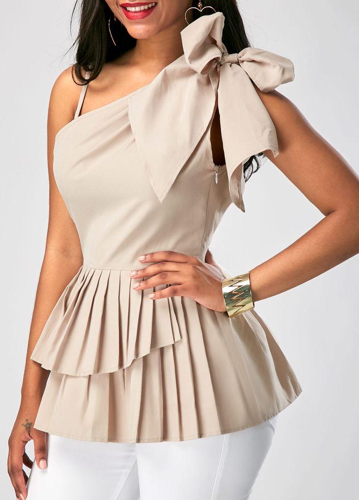Peplum Waist Sleeveless One Shoulder Blouse on sale only US$29.22 now, buy cheap Peplum Waist Sleeveless One Shoulder Blouse at liligal.com