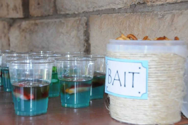 Fish theme party - Awesome catering ideas, jelly cups and pretzels...