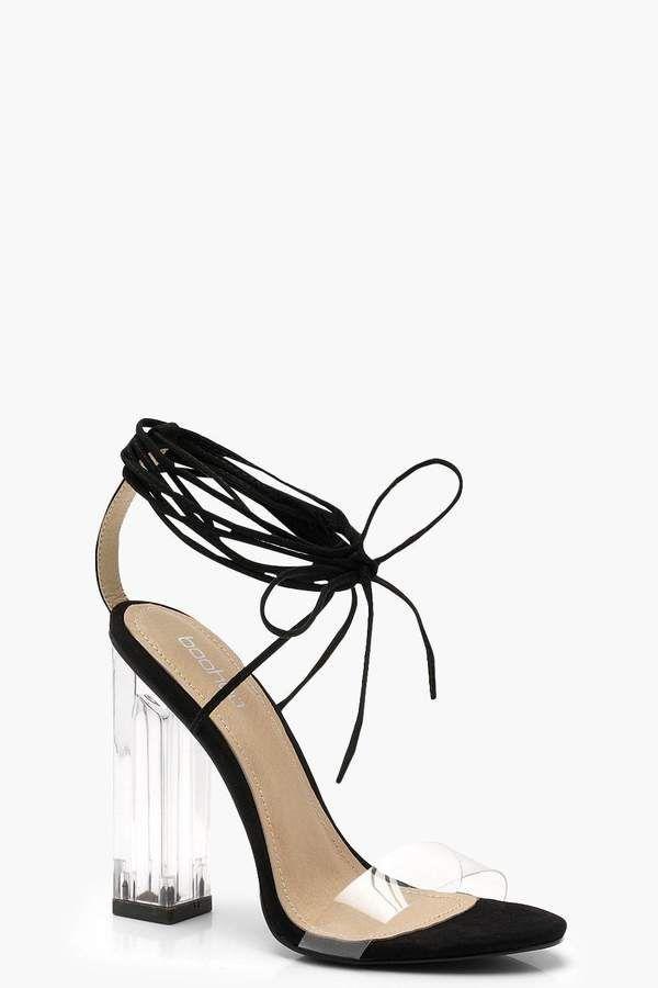 954a5fd3fe boohoo Maria Clear Heel Wrap… | Shoes | Heels | Sandals | Pumps ...
