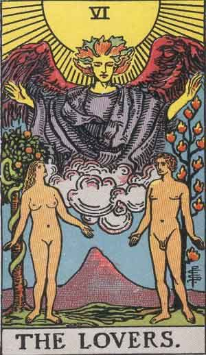 VI. The Lovers. The Original Rider Waite Tarot Card Deck, By Arthur Edward Waite & Pamela Colman Smith.