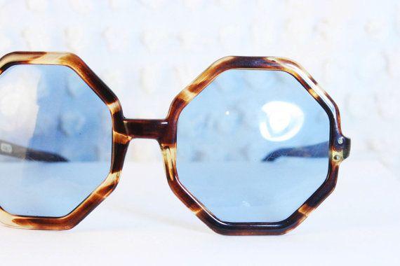 Octagonal Tortoise 1960's Sunglasses Sky Blue by THAYEReyewear