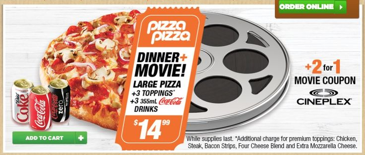 Pizza Pizza Canada Promotions: Large 3-Topping Pizza  3 Drinks 355mL  2 for 1 Cineplex Movie Coupon for only $... https://www.lavahotdeals.com/ca/cheap/pizza-pizza-canada-promotions-large-3-topping-pizza/311534?utm_source=pinterest&utm_medium=rss&utm_campaign=at_lavahotdeals&utm_term=hottest_12