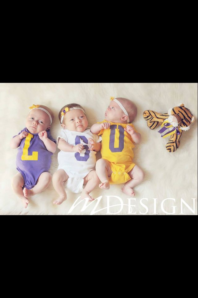 LSU triplets...or get onesies made with school colors/branding