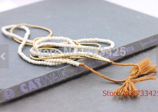 Белый Бирюзовый Камень Кисточкой Долго ожерелье женщины ручной тканые с шнур хлопка, белый turquoies и слайд закрытия