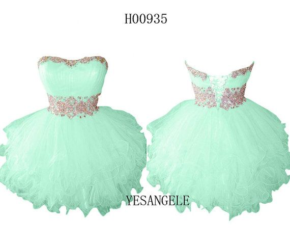 Cute Sweetheart Green Short Homecoming Dress 2014 by YESANGELE, $125.99