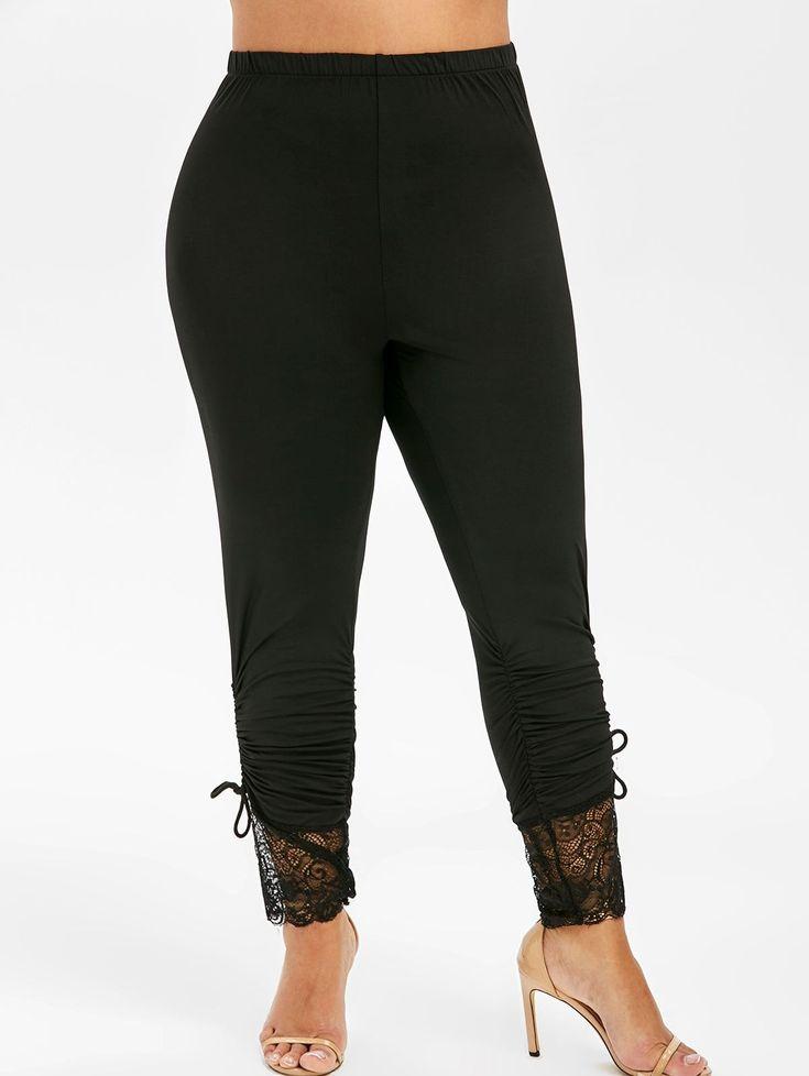 Lace Panel Cinched Plus Size Leggings 1