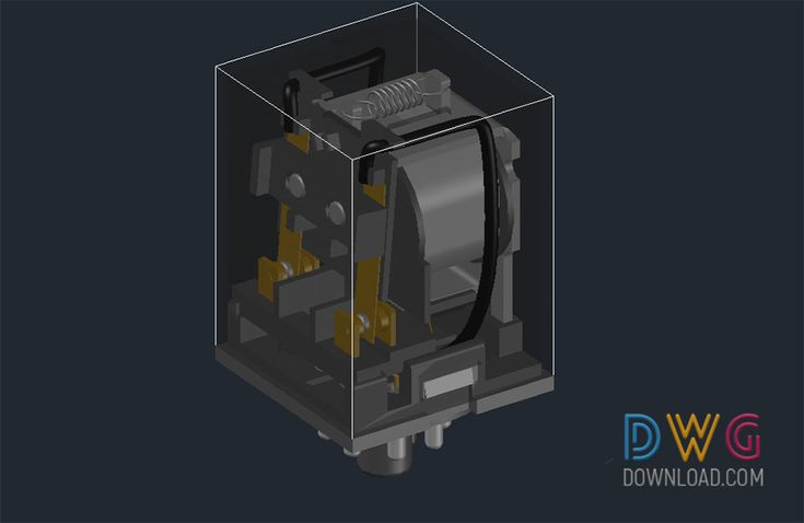Relay 3D Dwg. The 3D electronic dc relay is an AutoCAD dwg drawing.And about relay dwg, finder relay 3d dwg, 3D dwg drawing, electronic appliances cad blocks, electronic devices dwg, 3d electronic parts dwg.