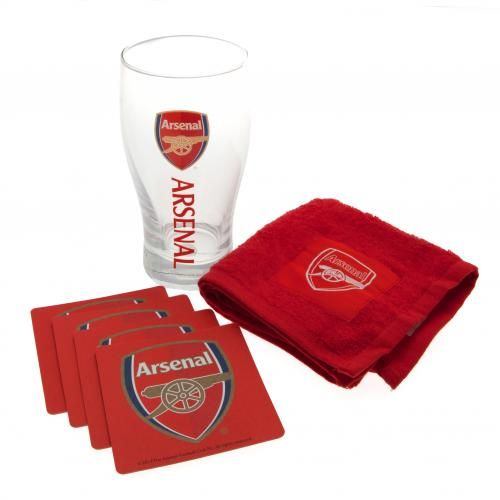 ARSENAL Mini Bar Set in club colours and featuring the club crest on each piece. Includes: 1 x Pint Glass, 4 x Beer Mats and 1 x Beer Towel. Official Licensed Arsenal gift set. PRICE INCLUDES DELIVERY