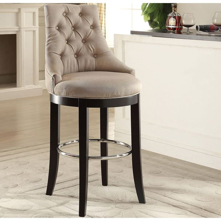 Baxton Studio Harmony Modern And Contemporary On Tufted Fabric Upholstered Bar Stool With Metal Footrest