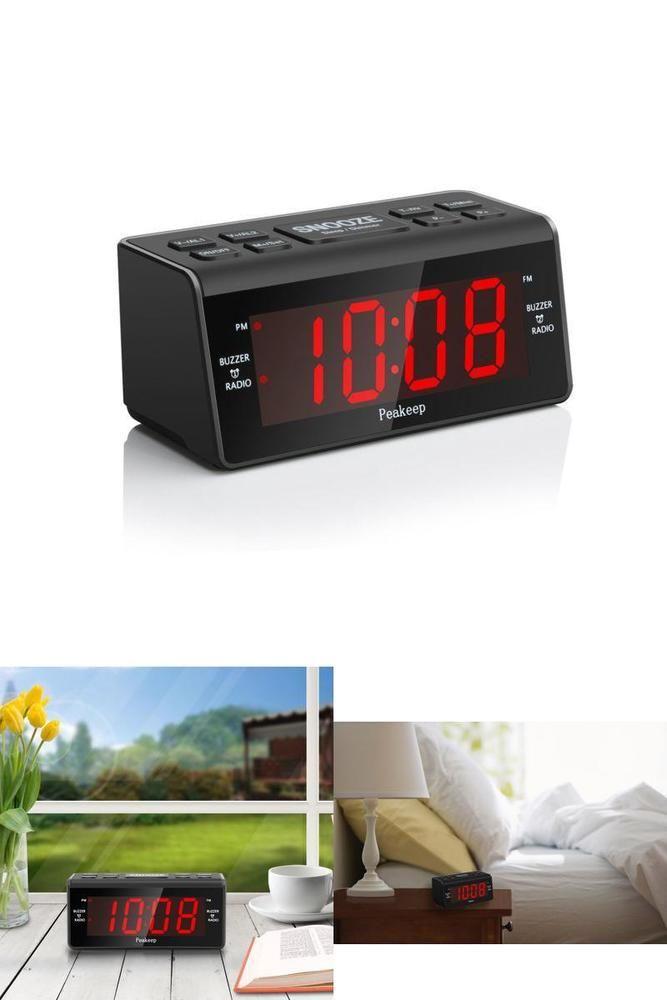 Alarm Clock with FM Radio Dual Alarm Snooze Sleep Timer Large Display 2 Dimmer #Peakeep