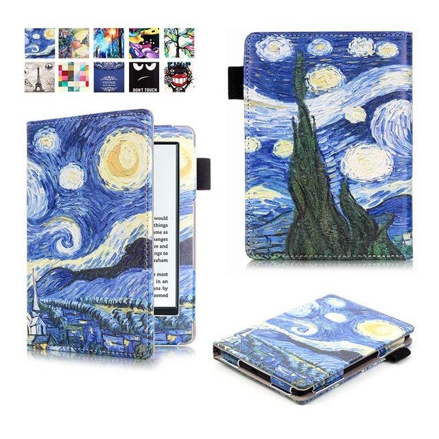 """Hot Case Cover for Amazon New Kindle 2016 8th 6"""" generation ebook PU Leather Painted inner frame for 6 inch +pen+Screen Film"""